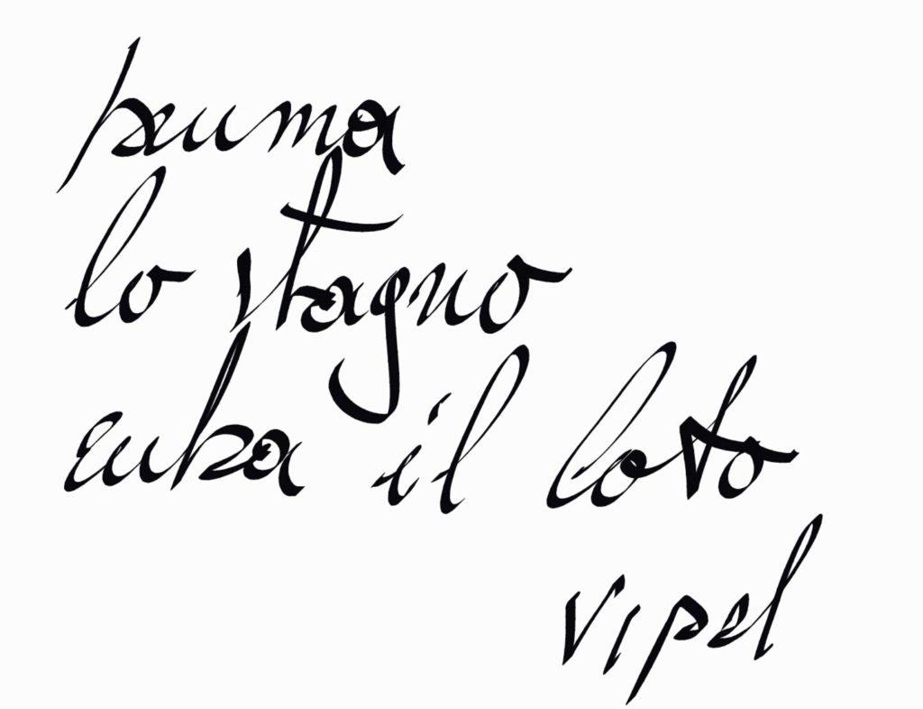 Poesia calligrafica scritta di pugno da Swami Bodhi Vipal Antonio Gianfranco Gualdi