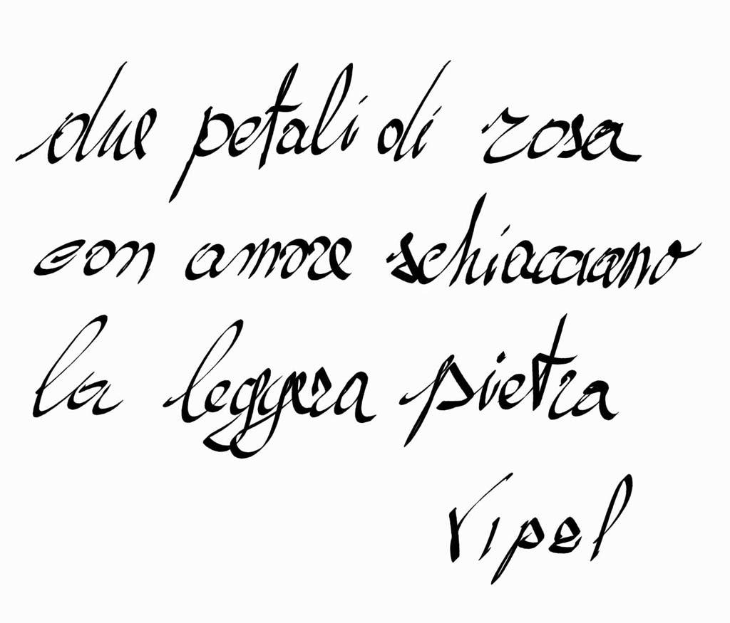 Poesia scritta a mano Due petali di rosa da Vipal