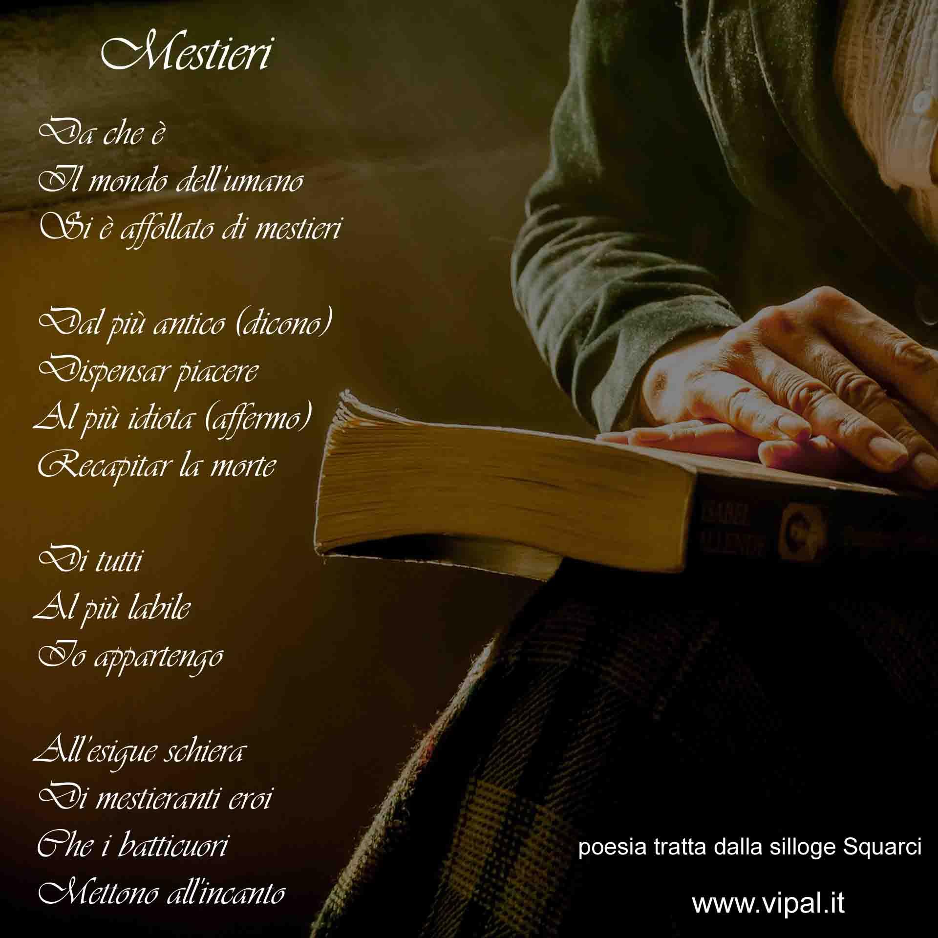 Mestieri testo poesia edita libro Squarci Vipal Antonio Gianfranco Gualdi
